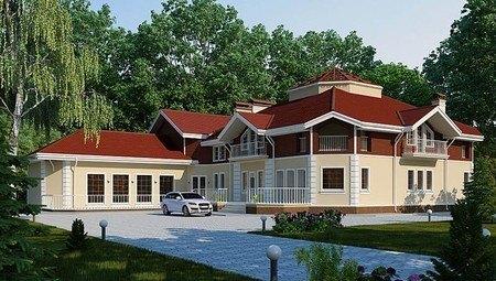 Проект огромного шикарного загородного коттеджа с цокольным этажом