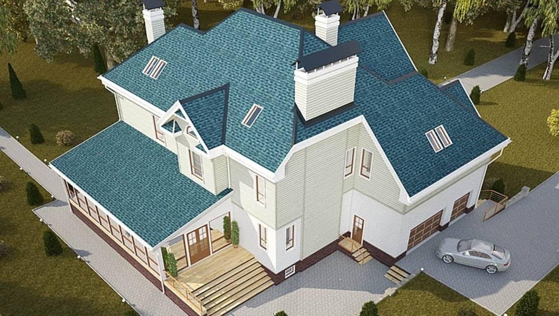 Проект большого просторного загородного коттеджа