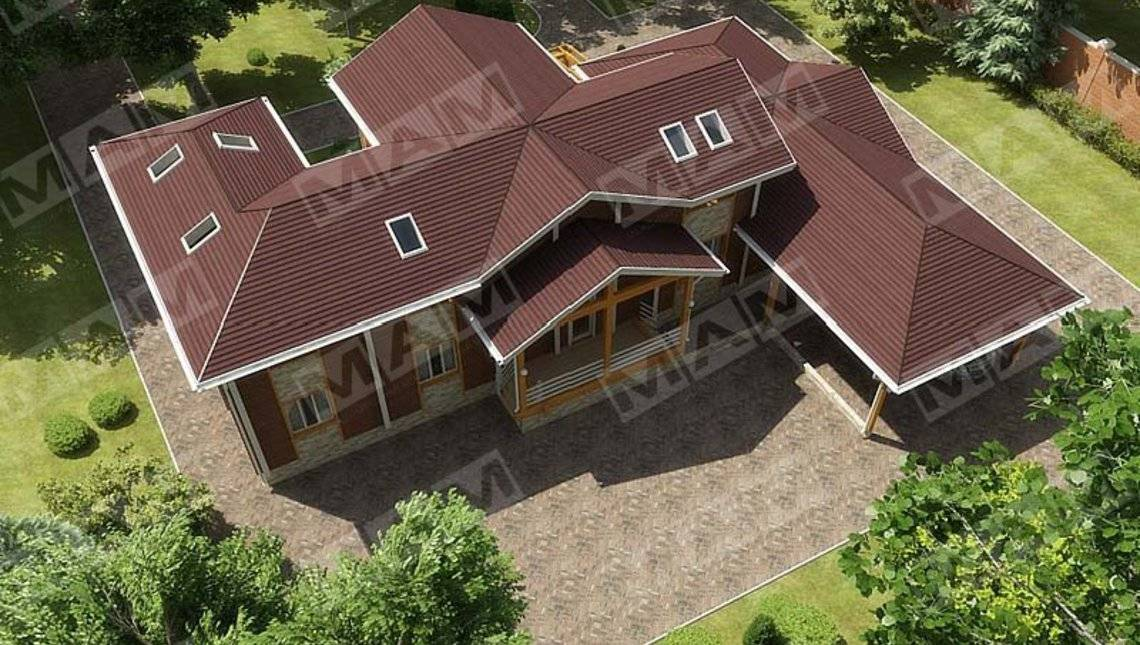 Проект жилого коттеджа с деревянным фасадом и навесом для авто