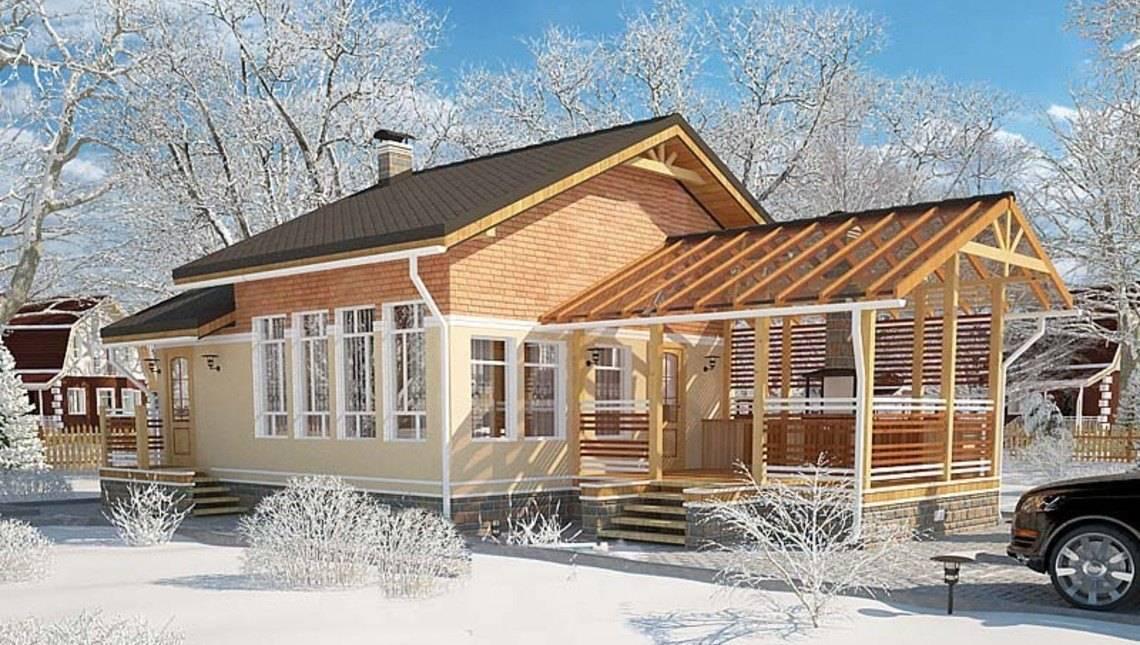 Проект бани с уютной антресолью и крытой террасой