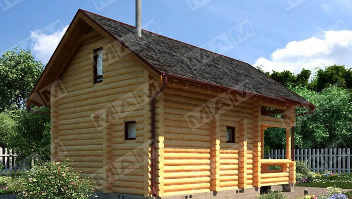 Архитектурный проект деревянного гостевого дома с баней