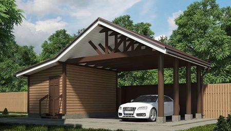 Проект хозяйственного помещения с навесом из дерева