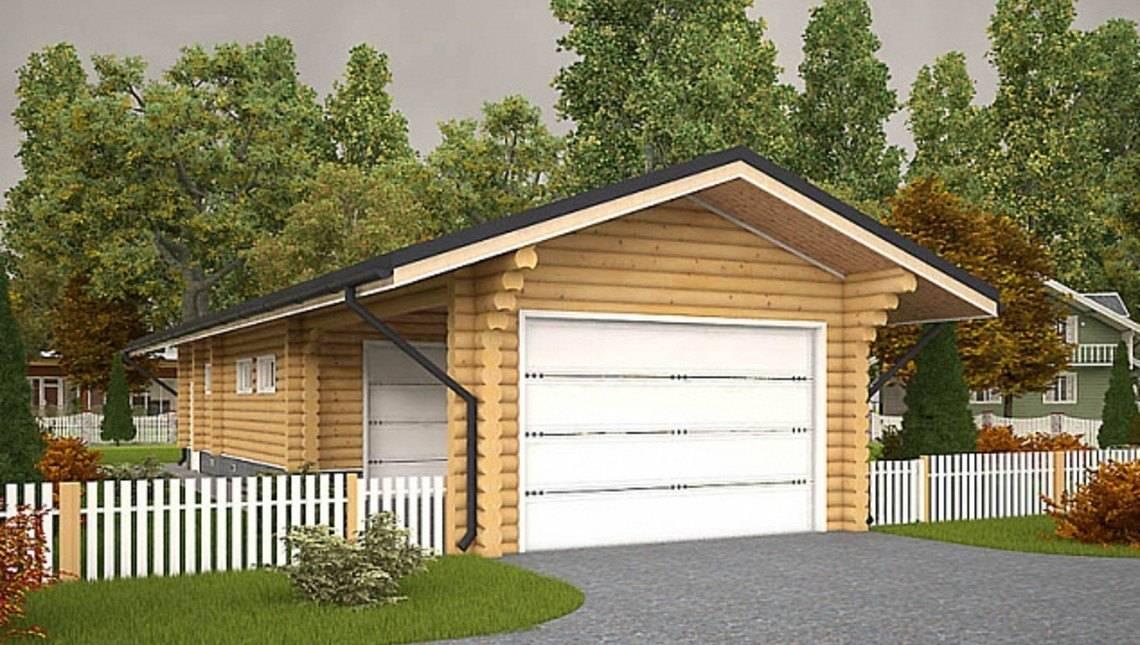 Проект практичного гаража с красивым деревянным фасадом
