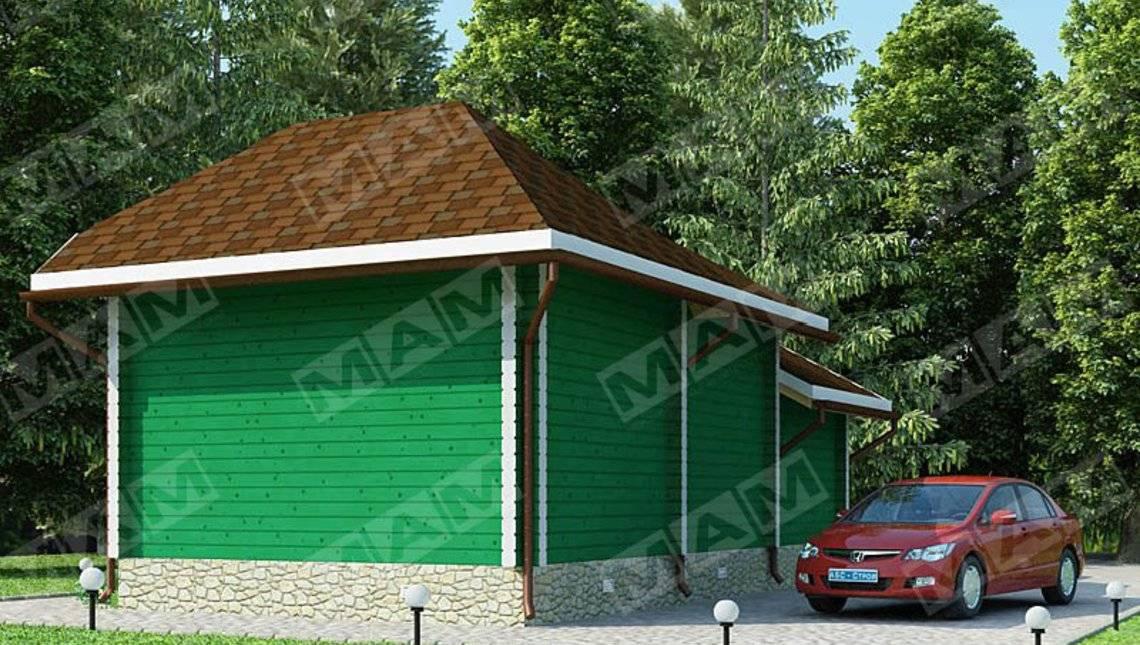 Архитектурный проект удобной небольшой сторожки с гаражом для 1 авто
