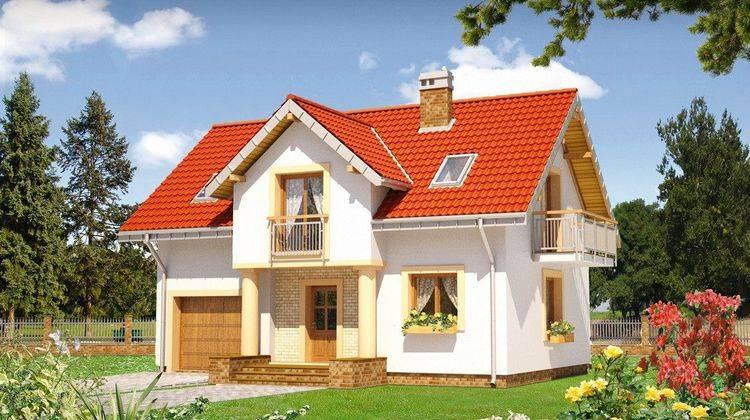 Проект дома с балкончиками в мансарде