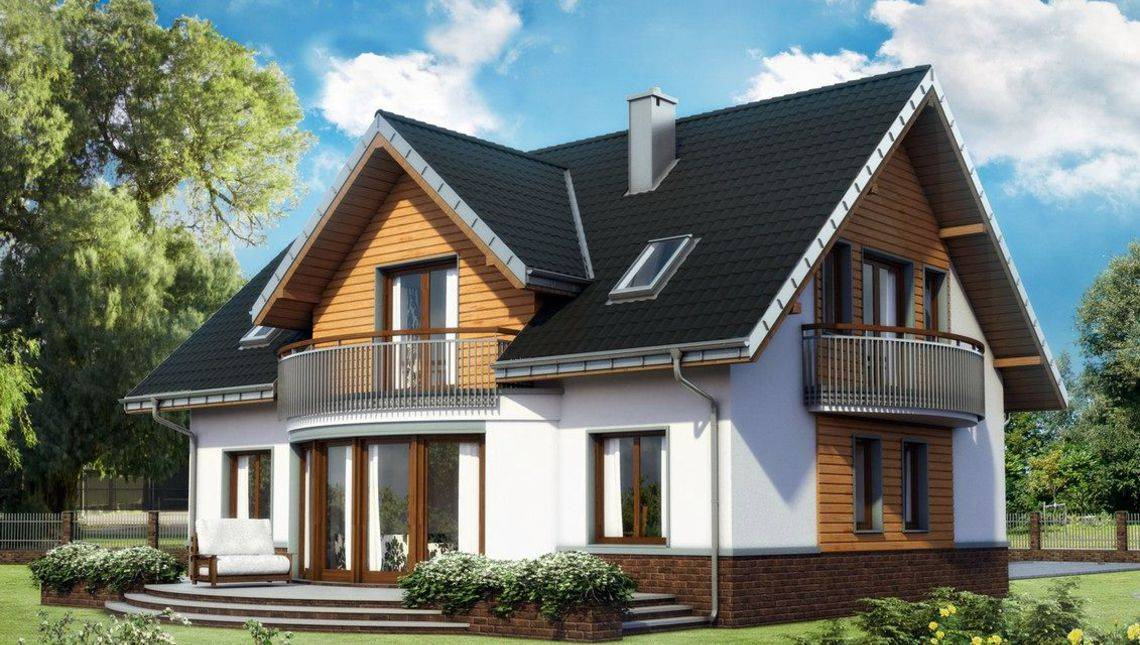 Архитектурный проект большой загородной виллы с площадью 185 m²