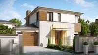 Компактный проект двухэтажного современного коттеджа с тремя спальнями и гаражом