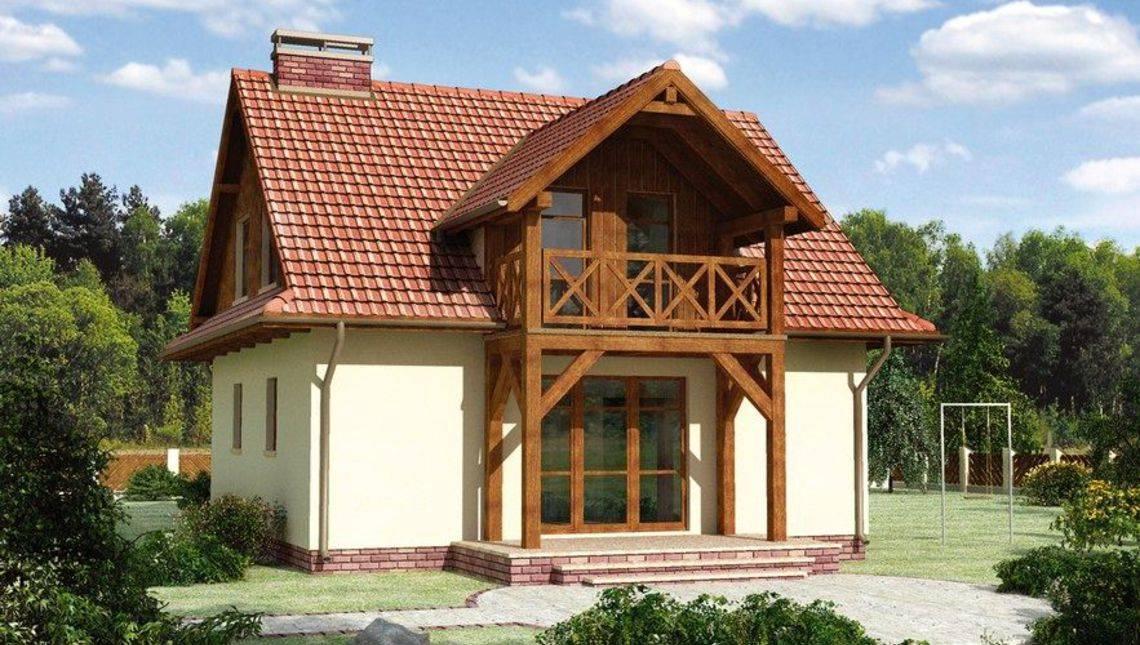 Архитектурный проект загородного дома с балконом и крыльцом в стиле кантри