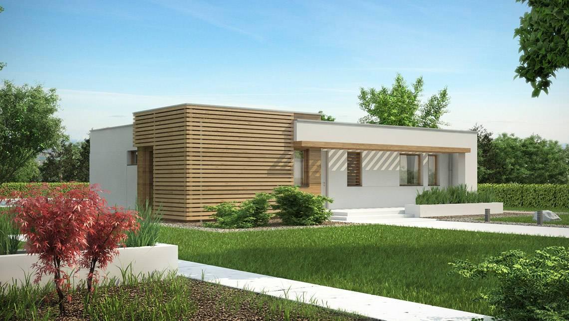 Небольшой коттедж с плоской крышей в стиле бунгало