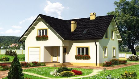 Двухэтажный дом жилой площадью на 150 квадратов с гаражом