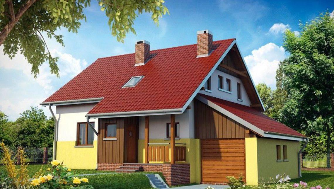 Интересный проект дома 11 на 13 с тремя небольшими спальнями и большой кухней