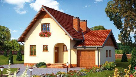 Симпатичный загородный дом с небольшим гаражом и крыльцом