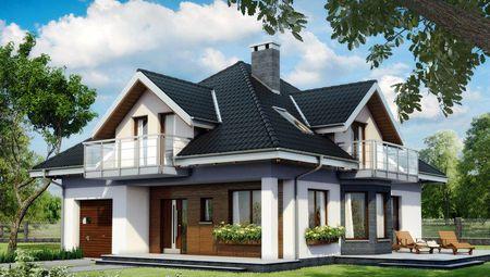 Интересный проект двухэтажного коттеджа с балконами и скатной крышей