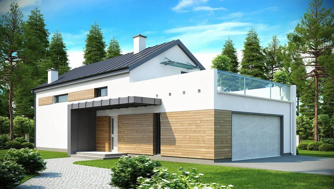 Современный просторный коттедж с террасой над гаражом