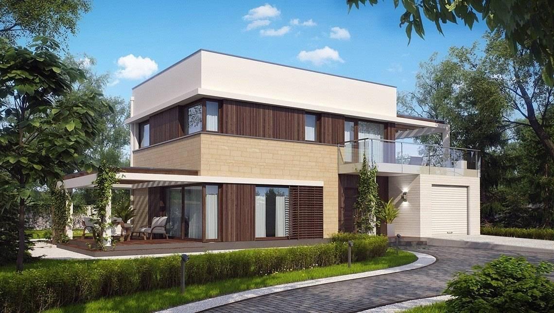 Проект дома с плоской крышей террасой над гаражом