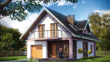 Проект оригинального дома с мансардным этажом и пятью комнатами