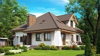 Симпатичный загородный дом с мансардой и балконом