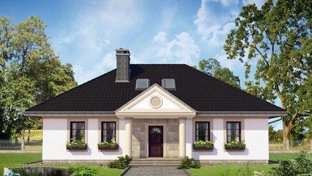 Красивый загородный коттедж с крыльцом в античном стиле