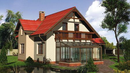 Стильный загородный дом с остекленной панорамной верандой