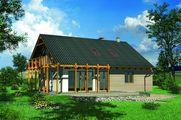Стильный загородный дом с открытой террасой и деревянным балконом