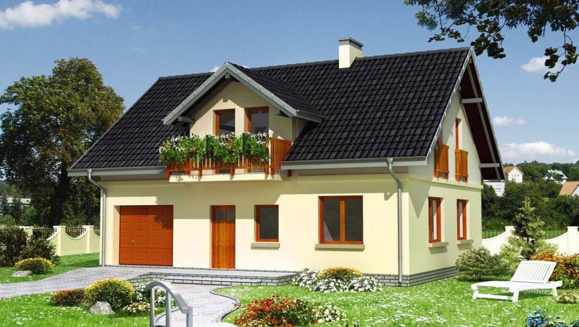 Строительный проект коттеджа 180 m² с мансардой и гаражом на 1 машину