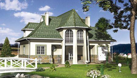 Оригинальный проект дома с крыльцом в виде башни