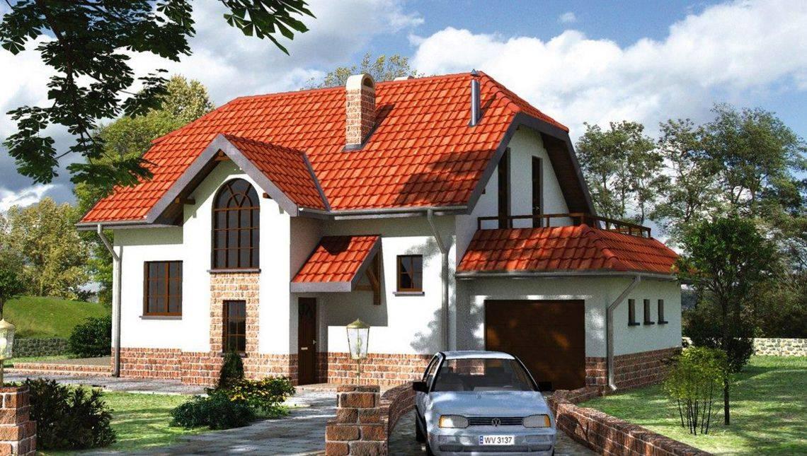 Проект мансардного дома с пристроенным гаражом