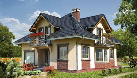 Проект строительства мансардного дома с эркером с многоскатной крышей
