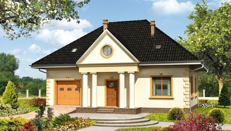 Жилой дом с колоннами на четыре спальные комнаты
