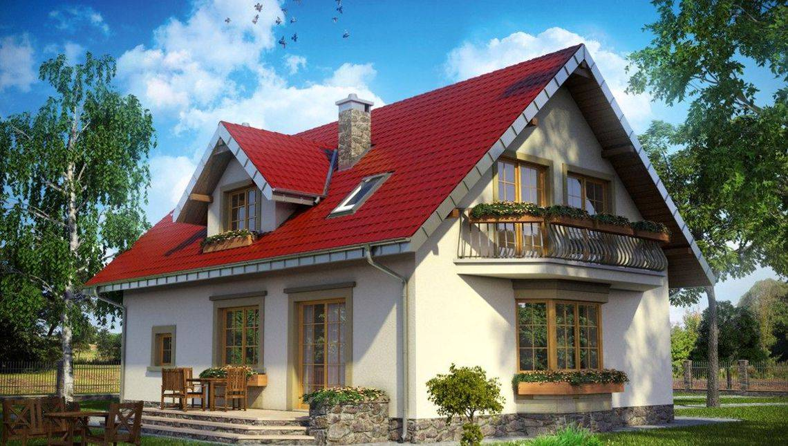 1,5-этажный коттедж 180 m² с уютным крыльцом