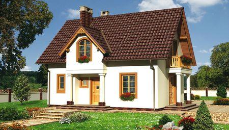 Проект дома с красивым балкончиком