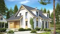 Интересный проект мансардного дома с фронтальным гаражом
