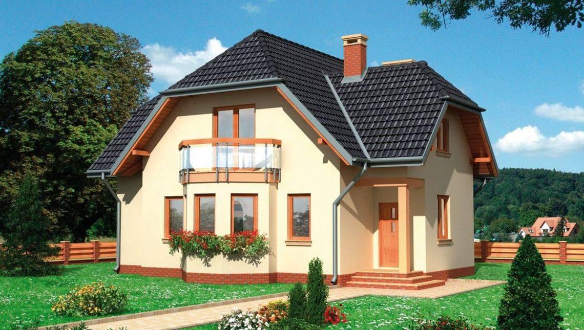Двухэтажный коттедж с уникальным экстерьером
