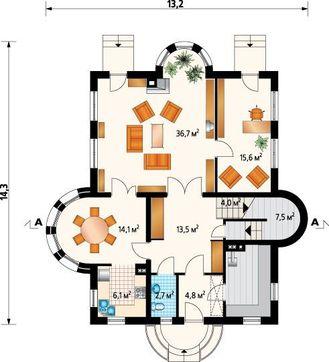 Проект усадьбы с эркерами и шестью спальнями