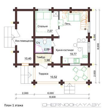 Симпатичный дом в деревенском стиле на три спальни