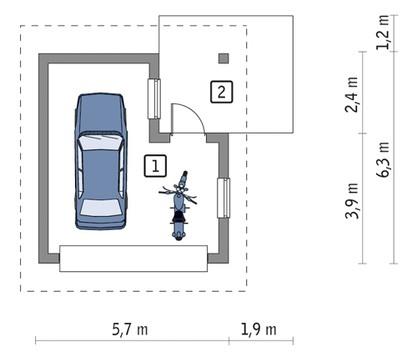 Компактный гараж с навесом