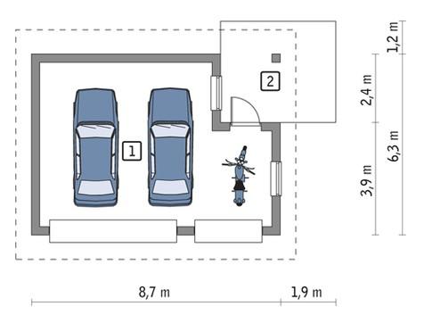 Компактный гараж с навесом на два авто