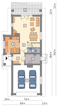 Жилой дом с двухскатной крышей