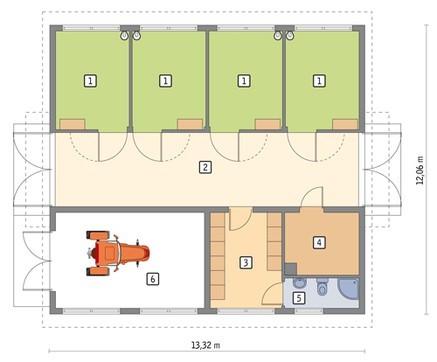 Конюшня с комнатой отдыха и гаражом