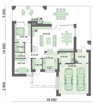 Двухэтажный загородный особняк с спальнями на разных этажах