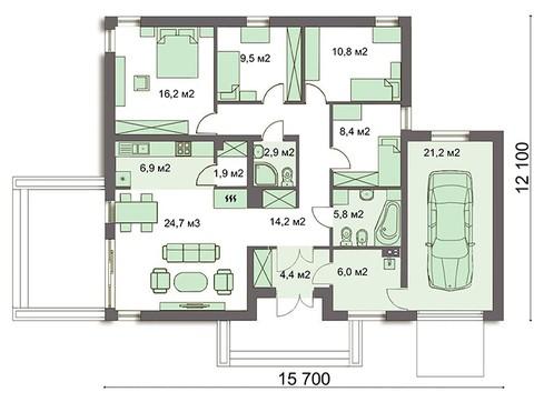 Одноэтажный коттедж с гаражом и четырьмя спальнями