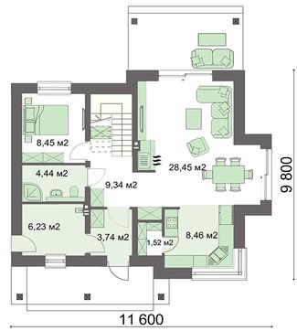 Коттедж на пять спален с мансардой
