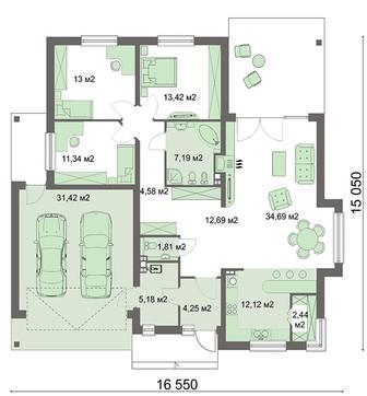 Одноэтажный жилой дом с гаражом на две единицы транспорта