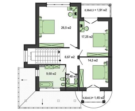 Небольшой особняк с четырьмя спальнями