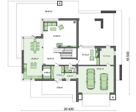 Стильный современный дом с огромными панорамными окнами