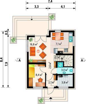 Дом с мансардой габаритами 8 на 8