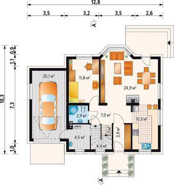 Уютный мансардный дом в традиционном стиле с пристроенным гаражом на 1 авто