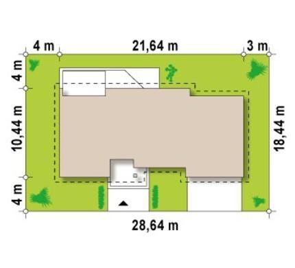 Одноэтажный дом с многоскатной крышей