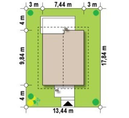 Проектнебольшого классического коттеджа для узких участков