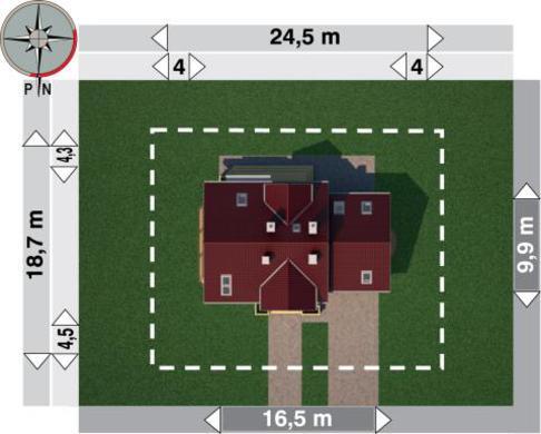 План коттеджа на два этажа с полукруглым эркером